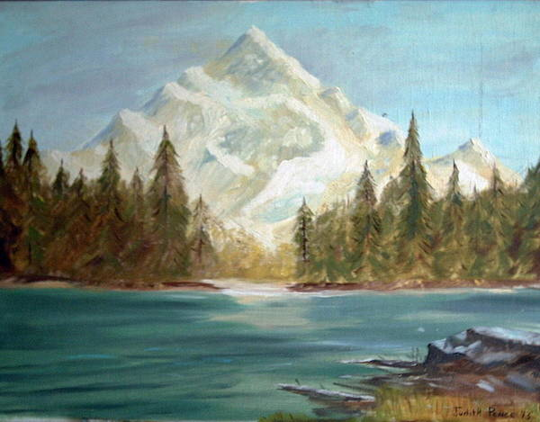 Mountain Art Print featuring the painting Snow Covered Mountain by Judi Pence