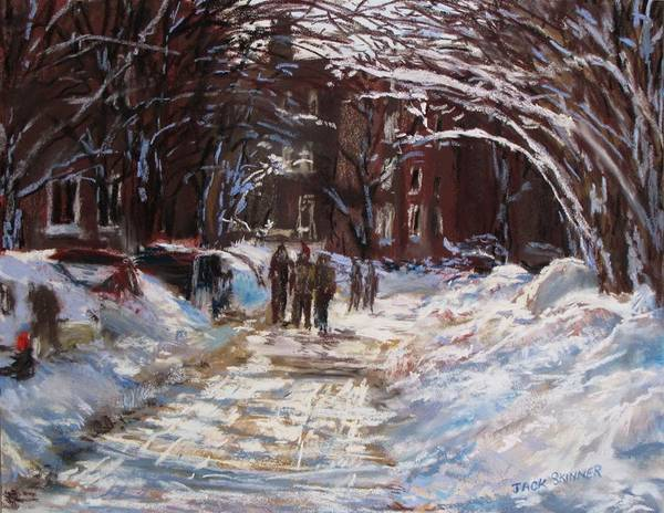 Snow Print featuring the painting Snow In The City by Jack Skinner