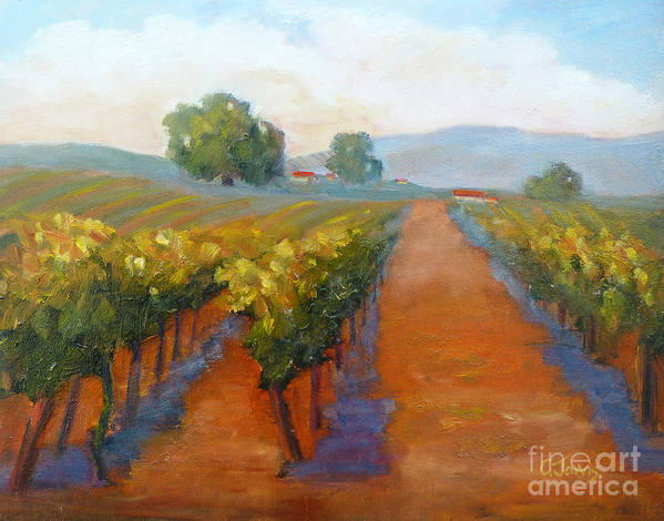 Vineyards Print featuring the painting Sonoma Vineyard by Carolyn Jarvis