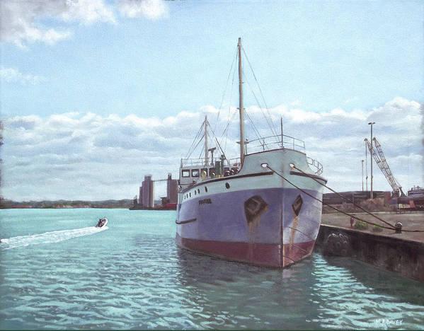 Southampton Art Print featuring the painting Southampton Docks Ss Shieldhall Ship by Martin Davey