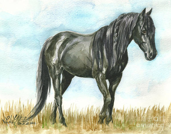 Sanctuary Print featuring the painting Spirit Wild Horse In Sanctuary by Linda L Martin