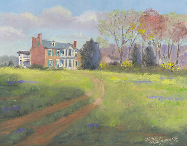 Carnton Plantation Art Print featuring the painting Springtime At Carnton by Tommy Thompson