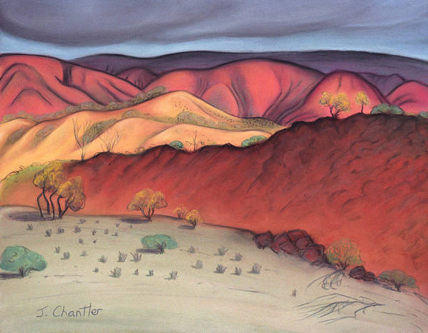 Gammon Ranges Art Print featuring the pastel Storm Outback Australia by Judith Chantler