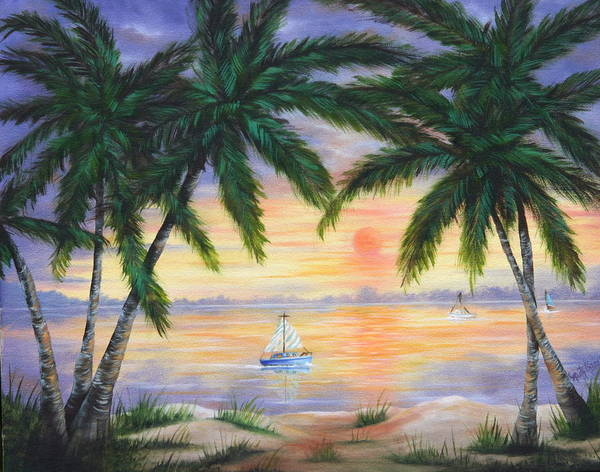 Seascape Art Print featuring the painting Summer Sunset by Ruth Bares