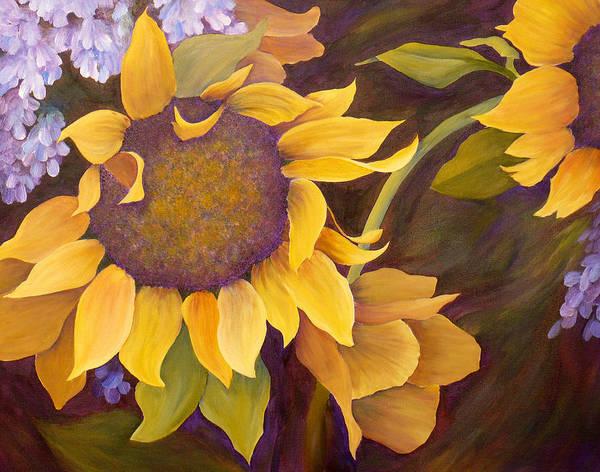 Sunflower Art Print featuring the painting Sunflowers by Jill Ferguson
