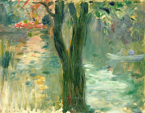 Setting Sun; Impressionist; Reflection Art Print featuring the painting Sunset Over The Lake Bois De Boulogne by Berthe Morisot