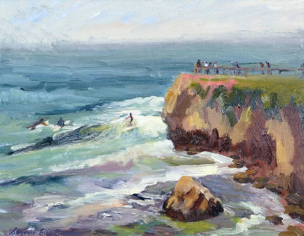 Surfers Art Print featuring the painting Surfing At Steamers Lane Santa Cruz by Suzanne Elliott