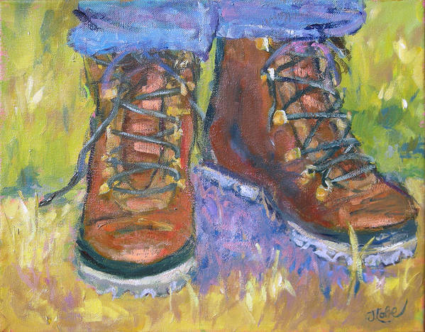 Hiking Art Print featuring the painting Take A Hike by Jude Lobe