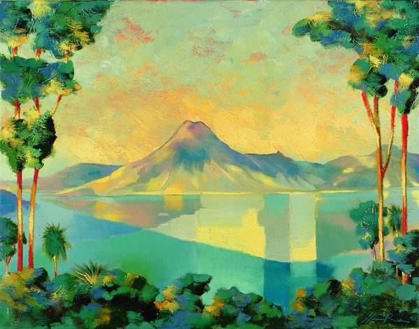 Lake Atitlan Art Print featuring the painting The Art Of Long Distance Breathing by Andrew Hewkin