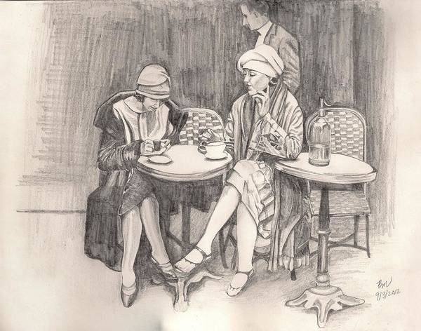 Women Art Print featuring the painting The Cafe by Beverly Marshall