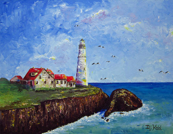 Lighthouse Art Print featuring the painting The Guardian by Dottie Kinn