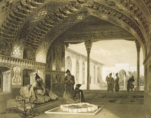 Prince Art Print featuring the drawing The Hall Of Mirrors In The Palace by Grigori Grigorevich Gagarin