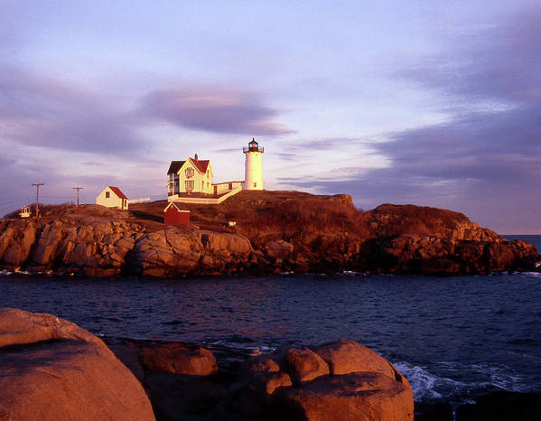 Light Art Print featuring the photograph The Light On The Nubble by Skip Willits