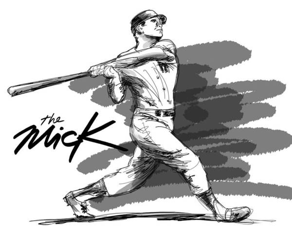 The Mick Art Print featuring the drawing The Mick by Ron Regalado