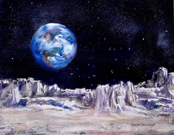 Moon Art Print featuring the painting The Moon Rocks by Jack Skinner