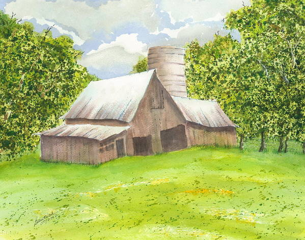 Late Spring Foliage Art Print featuring the painting The Old Barn by Joel Deutsch