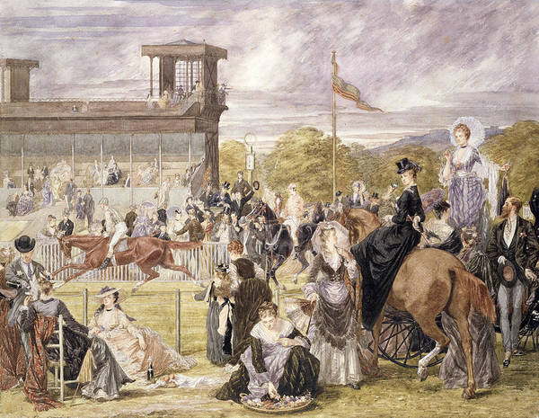 Race Course Art Print featuring the painting The Races At Longchamp In 1874 by Pierre Gavarni