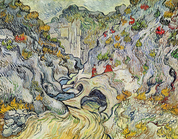 Landscape Print featuring the painting The Ravine Of The Peyroulets by Vincent van Gogh
