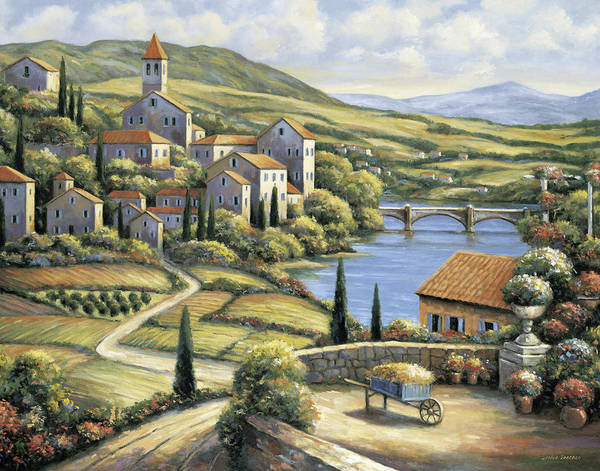 Pallet Art Print featuring the painting The Village by John Zaccheo