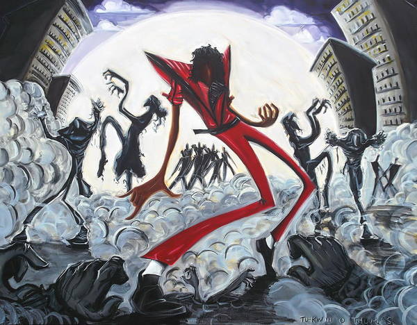 Thriller Print featuring the painting Thriller V2 by Tu-Kwon Thomas