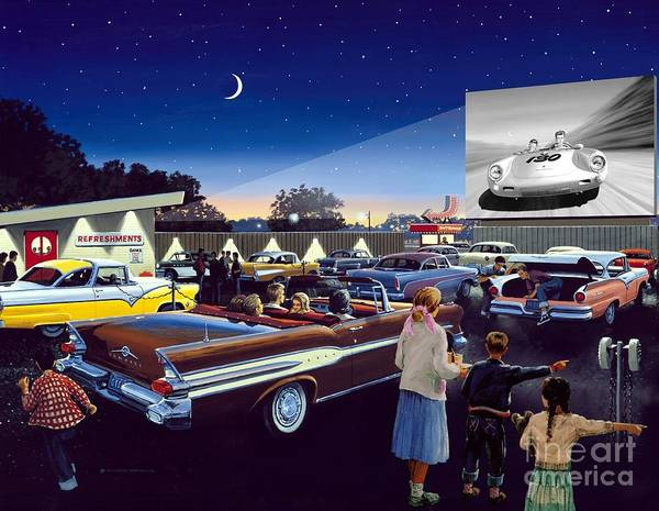 Drive In Theatre Art Print featuring the painting Twenty Minutes To Show Time by Michael Swanson