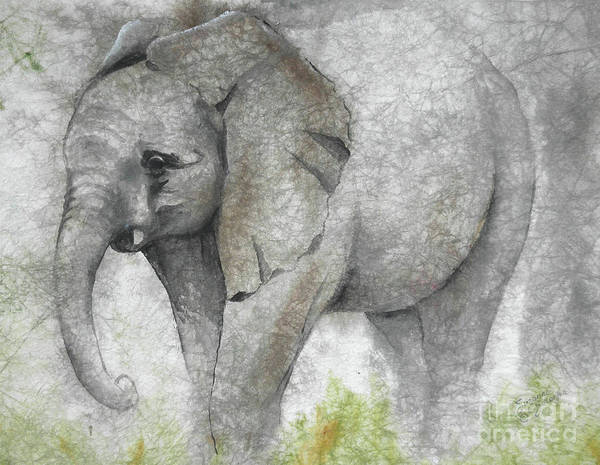 Elephant Art Print featuring the painting Vanishing Thunder Series-baby Elephant I by Suzanne Schaefer