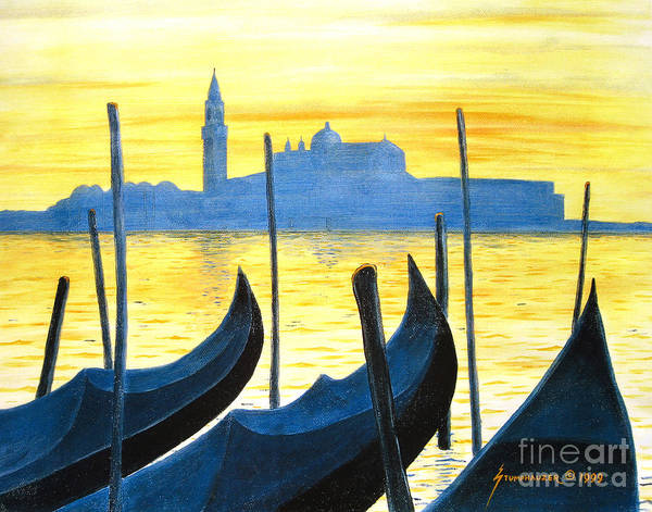 Venice Art Print featuring the painting Venezia Venice Italy by Jerome Stumphauzer