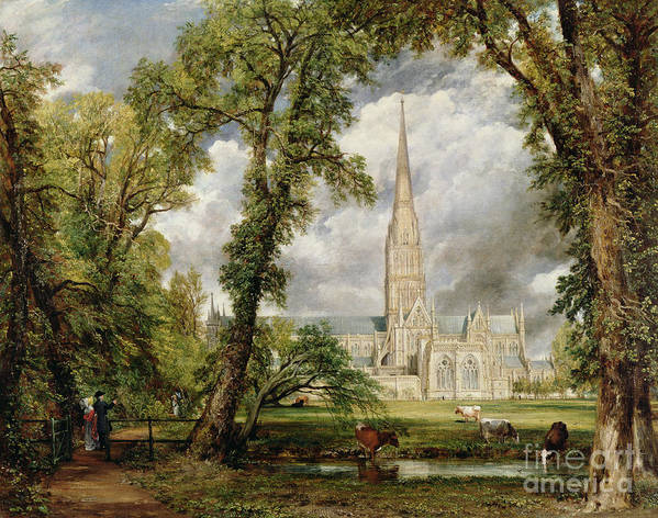 View Of Salisbury Cathedral From The Bishops Grounds Art Print featuring the painting View Of Salisbury Cathedral From The Bishop's Grounds by John Constable