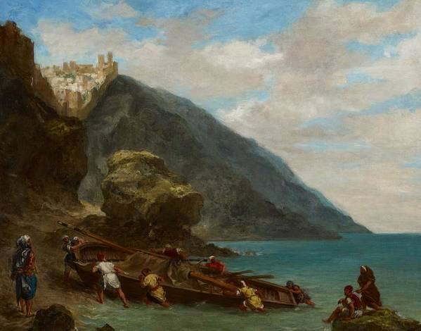 Boat Art Print featuring the painting View Of Tangier From The Seashore by Ferdinand Victor Eugene Delacroix