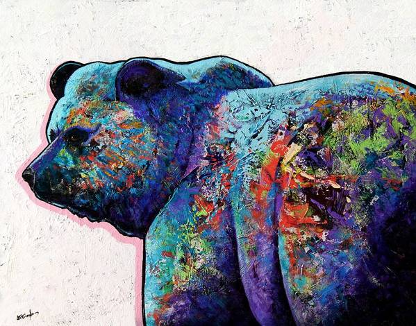 Wildlife Art Print featuring the painting Watchful Eyes - Grizzly Bear by Joe Triano
