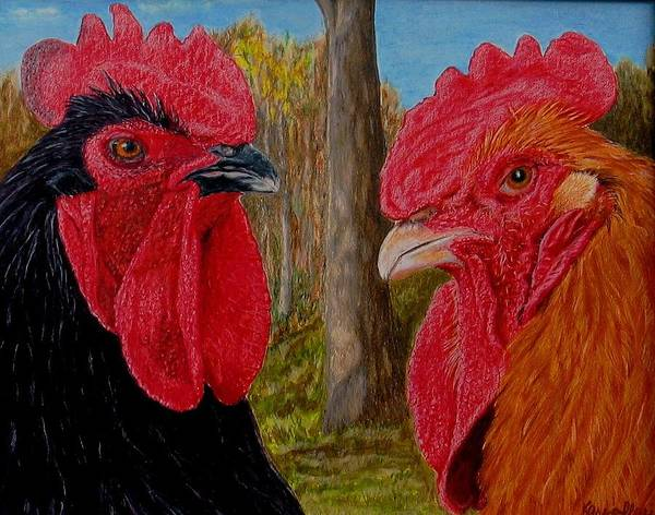 Roosters Art Print featuring the painting Who You Calling Chicken by Karen Ilari