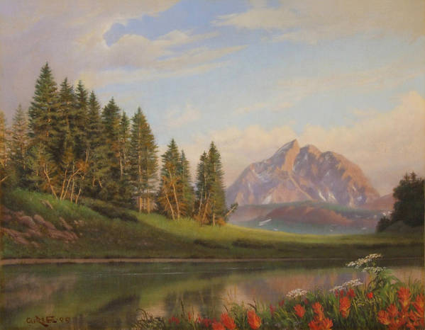 Western Art Print featuring the painting Wildflowers Mountains River Western Original Western Landscape Oil Painting by Walt Curlee