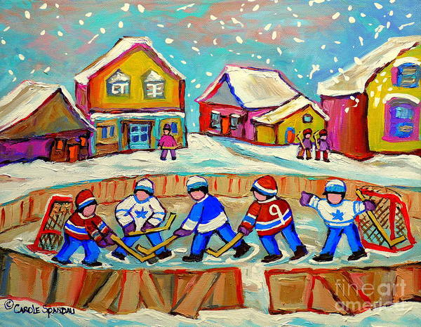 Pond Hockey Art Print featuring the painting Winter Fun At Hockey Rink Magical Montreal Memories Rink Hockey Our National Pastime Falling Snow  by Carole Spandau
