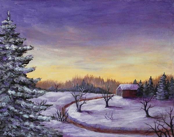 Winter Art Print featuring the painting Winter In Vermont by Anastasiya Malakhova