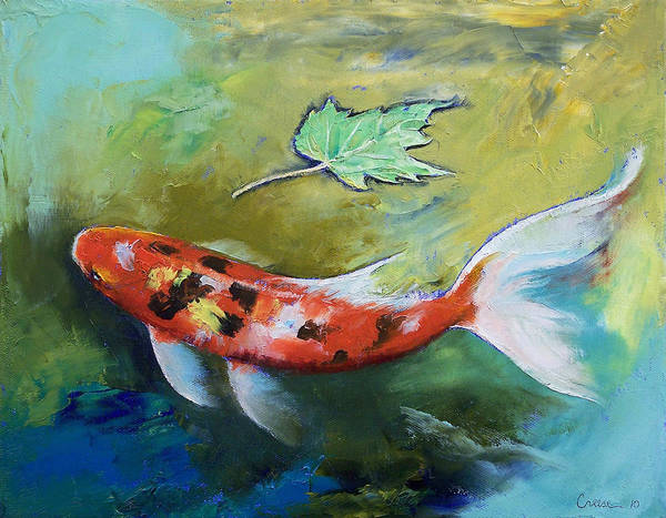 Asian Print featuring the painting Zen Butterfly Koi by Michael Creese