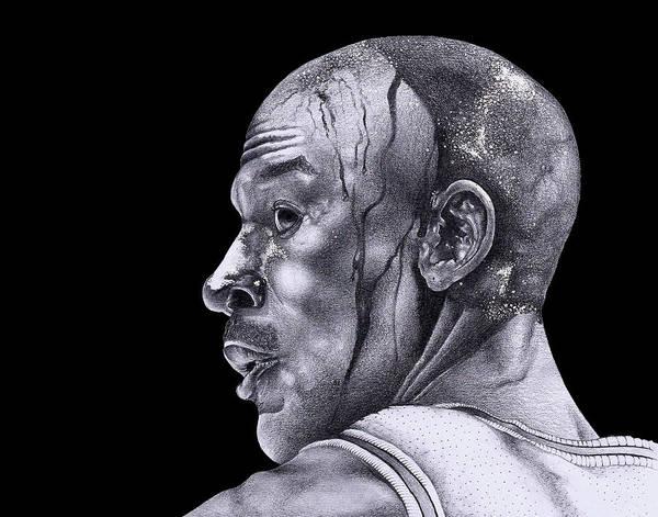 Jordan Drawing Art Print featuring the drawing Homage To Jordan by Lee Appleby