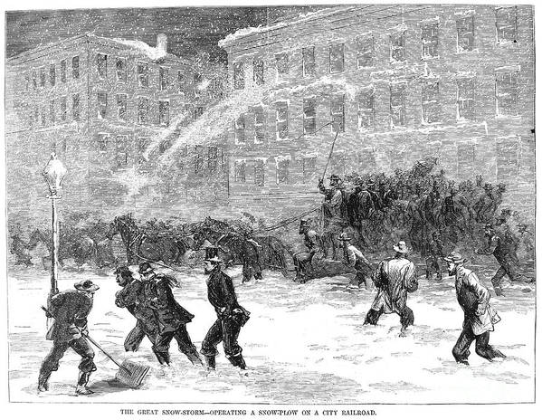 1867 Art Print featuring the photograph New York: Snowstorm, 1867 by Granger