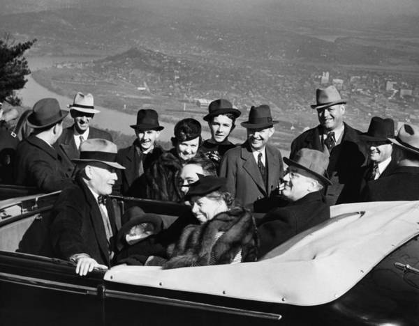 1930s Candid Art Print featuring the photograph President Franklin D. Roosevelt In Car by Everett
