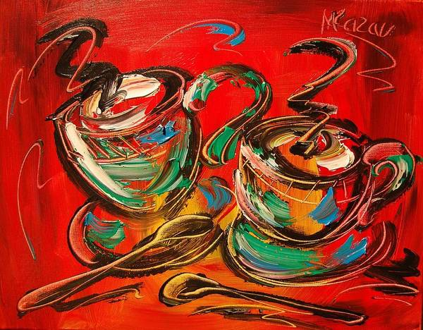 Red Hot Coffee Art Print featuring the painting Coffee by Mark Kazav