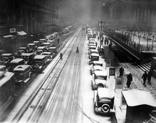 1930s Art Print featuring the photograph A Heavy Snowfall, 42nd Street, Looking by Everett