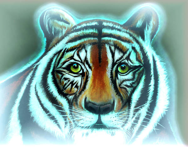 Tiger Art Print featuring the painting Abbagail's Haunt by Adele Moscaritolo
