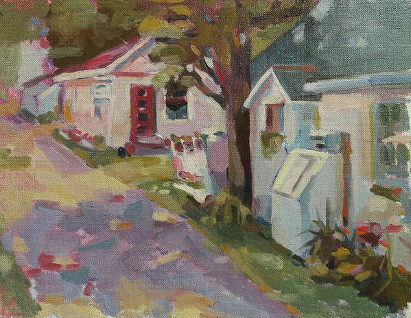 : Landscape Paintings Art Print featuring the painting Ally Shops by Jenny Anderson