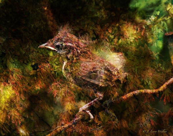 J Larry Walker Art Print featuring the digital art Baby Wren First Fly by J Larry Walker