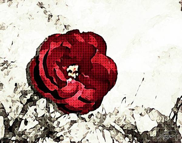 Rose Art Print featuring the mixed media Blotted Rose by Lauranns Etab