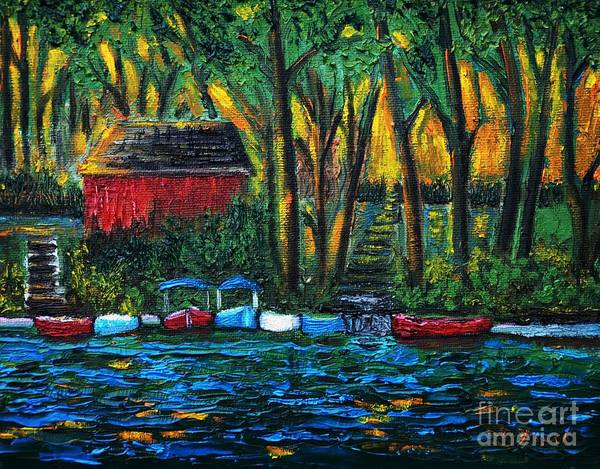 Boats Art Print featuring the painting Boat Dock In The Evening by Reb Frost