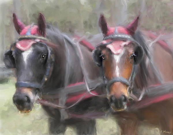 Horse Art Print featuring the painting Carriage Horses Pleasure Pair by Connie Moses