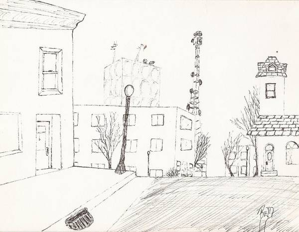 City Street Print featuring the drawing City Street - Sketch by Robert Meszaros