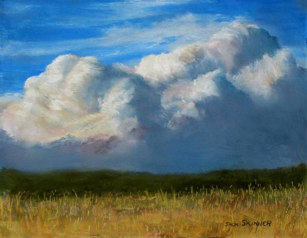 Clouds Art Print featuring the painting Clouds Over The Meadow by Jack Skinner