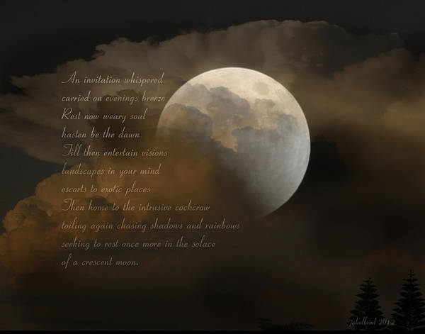 Poem Print featuring the photograph Cresent Moon by Joseph G Holland