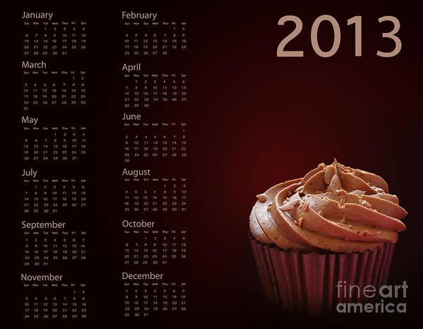 2013 Art Print featuring the photograph Cupcake Calendar 2013 by Jane Rix